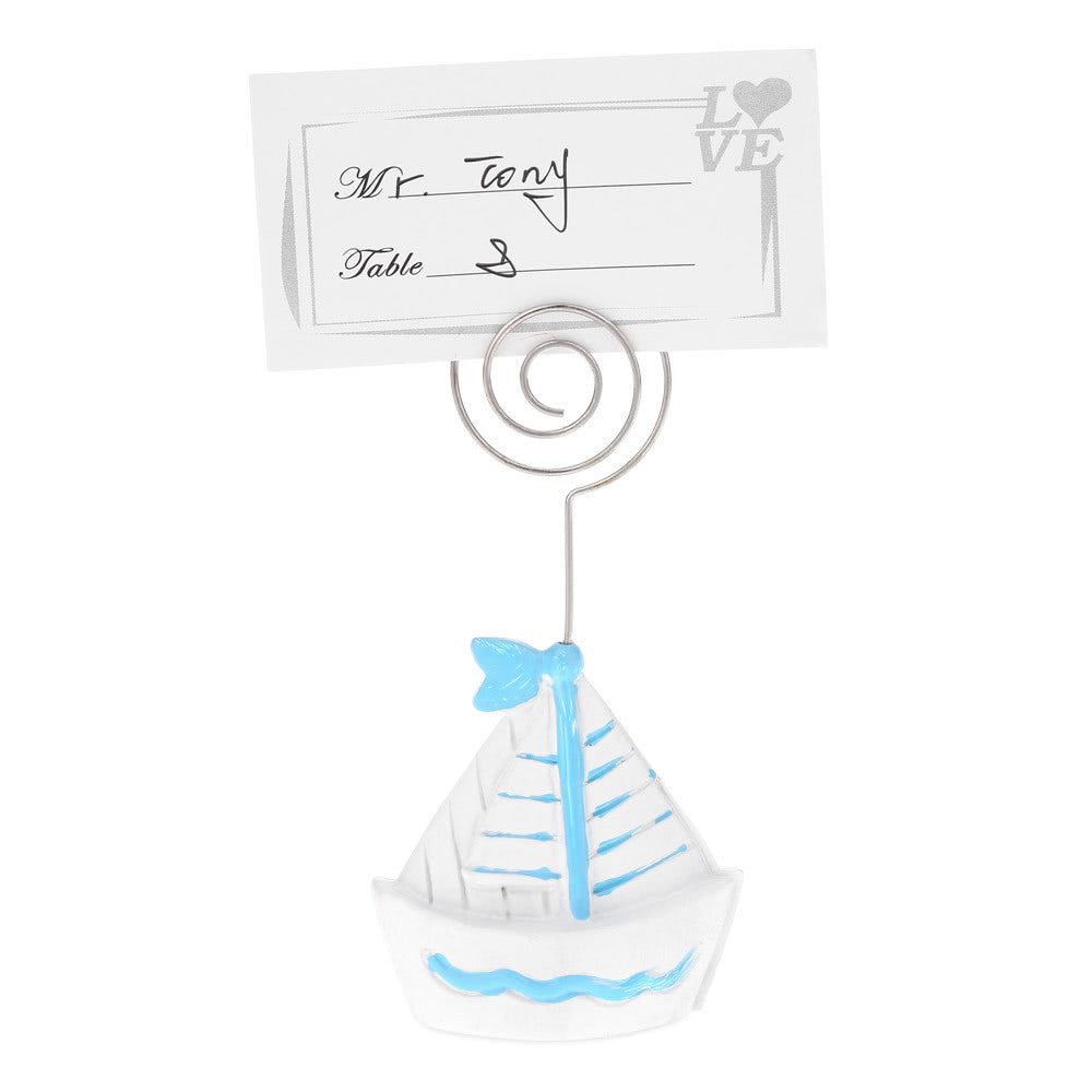 10pcs Lovely Mini Sailing Ship Boat Place Card Holders Table Mark Cards for Wedding