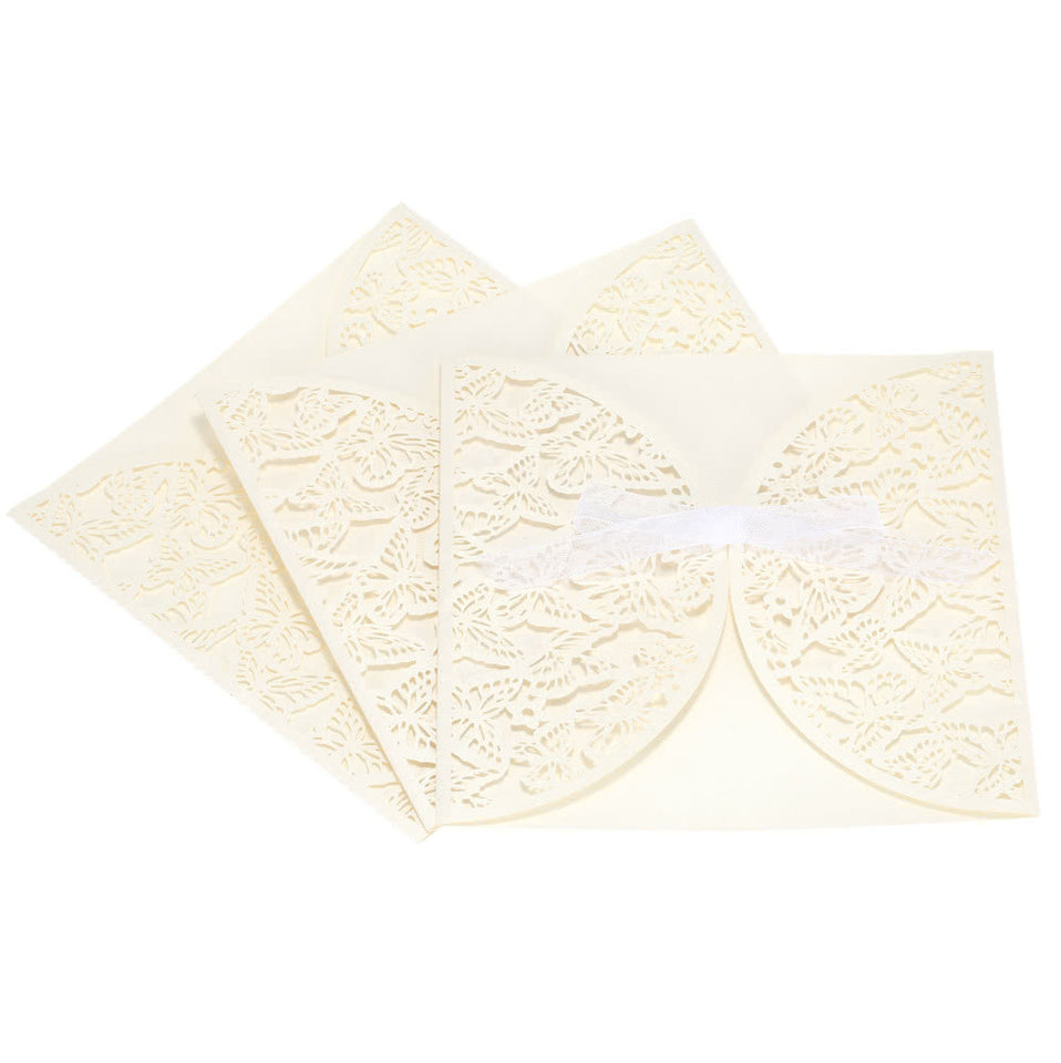 10Pcs Romantic Wedding Party Invitation Card Delicate Carved Butterlies Pattern