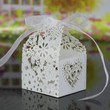 Laser Cut Delicate Carved Flower Elegant Candy Boxes with Ribbon