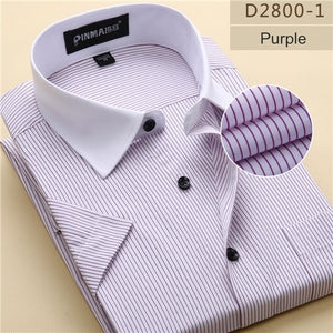 Striped Short Sleeve Slim Fit Non-Iron Shirt
