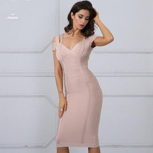 Bandage Spaghetti Strap Off Shoulder Sexy V-Neck Dress