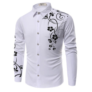 Men Casual Fashion Long Sleeve Printed Shirt