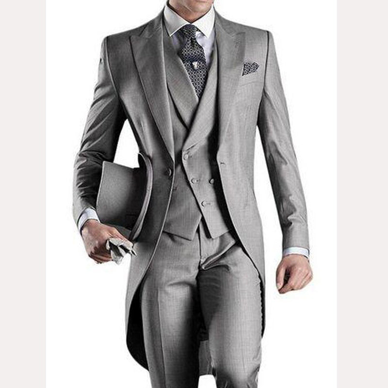Light Gray Tailcoat One Button Three Piece Tuxedos Suit