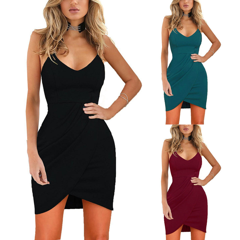 V Neck Sleeveless Bodycon Party Mini Dress