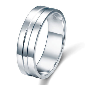 High Polished Plain Men's Sterling 925 Silver Wedding Band Ring