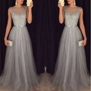 Fashion Sequin Patchwork Sleeveless O Neck Long Belt Slim Elegant Dress