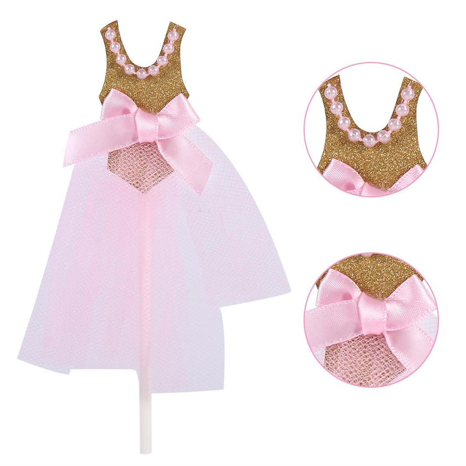 10Pcs/Pack Gold Glitter for Cupcake Toppers Pink Princess Skirt Decor