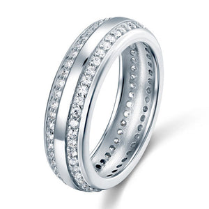 Simulated Diamond Sterling 925 Silver Men Wedding Band Ring