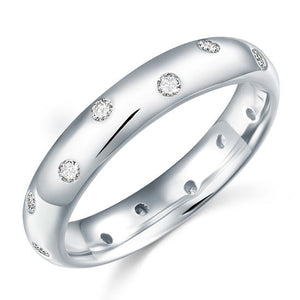 Simulated Diamond Wedding Band Sterling 925 Silver Ring