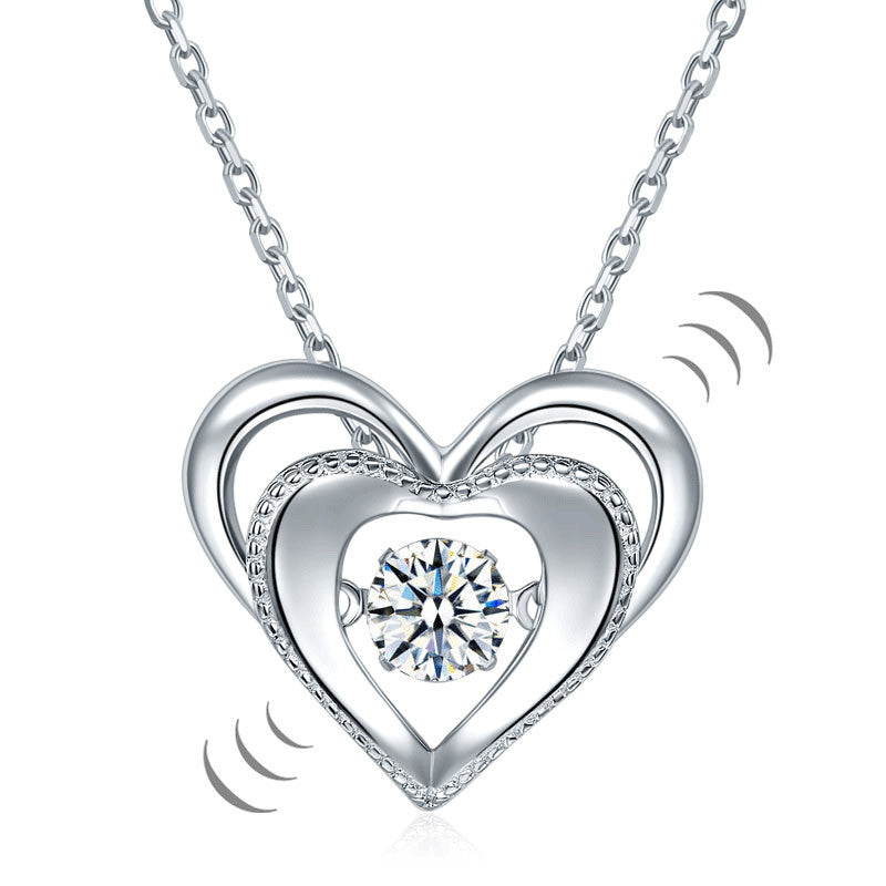 Heart Dancing Stone Pendant Necklace Solid Sterling Silver for Wedding Gift