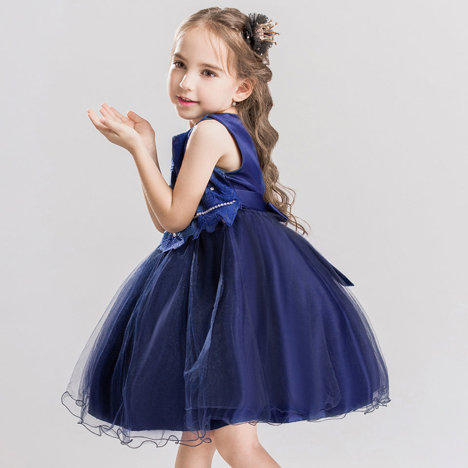 Flower Girl Princess Bridesmaid Pageant Lace Tutu Tulle Gown Dress