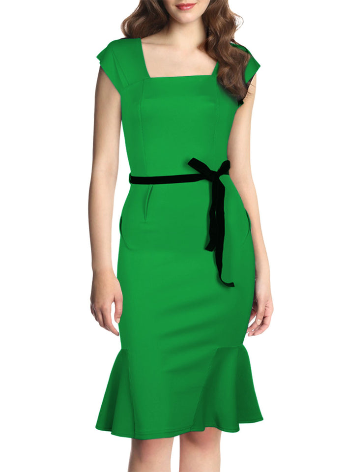 Casual Peplum Bow-Knot Belt Party Dress