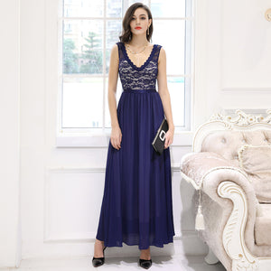 Retro Deep-V Neck Halter Bridesmaid Wedding Maxi Dress