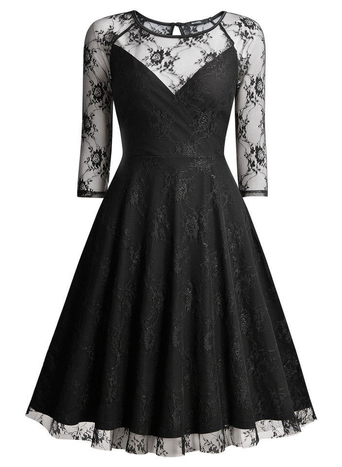 Sexy Floral Lace Net Party Swing Dress