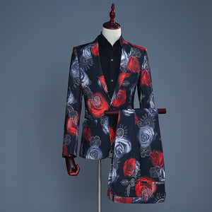 Red Rose Floral Casual Jacket and Pants Mens Suit