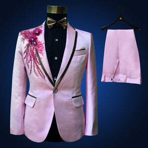 Boys Tailor Suit jacket boy 4 piece embroidered sequins