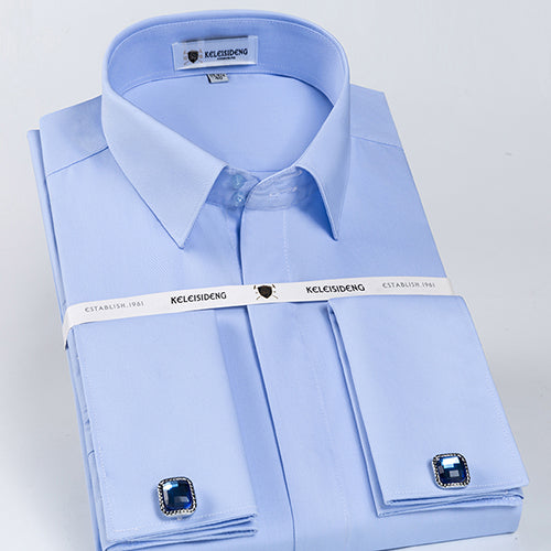 Slim Fit French Cuff Twill Long Sleeve Shirt with Covered Placket