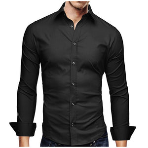 Casual Solid Color Business Slim Fit High Quality Long Sleeve Shirts