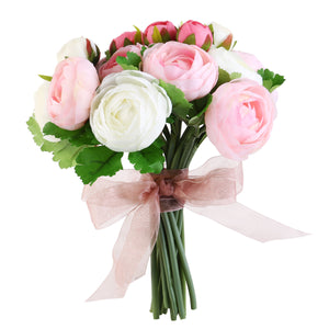 Camellia Flowers Bridal Wedding Bouquets (Pink & White)
