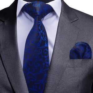 Quality Tie Set for Men Blue Floral Tie and Handkerchief Silver Neck Tie