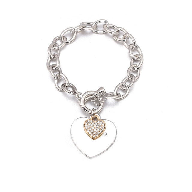 Shefly Love Heart Charm Bracelets For Women Gold Silver Color