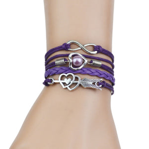 Strands Infinity Silver Color Heart Charm Leather Braid Bracelet