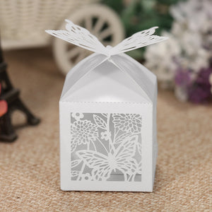 50pcs/set Mini Laser Cut Candy Box White Pearl Paper Rose Butterfly Pattern Hollow Out Gift Box