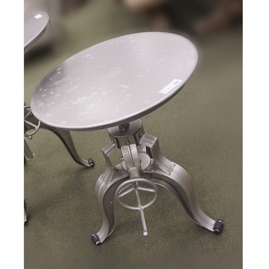 "Afton Crank Table 22"" Nickel"