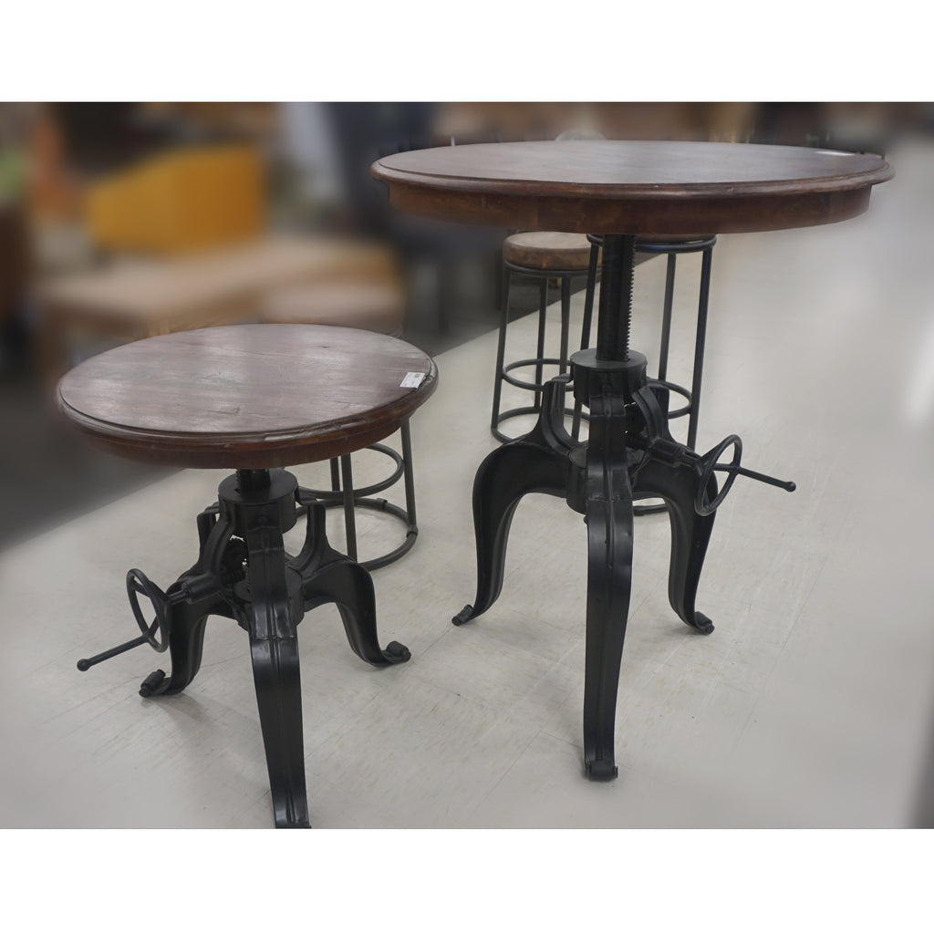 Nika Crank Table w/ Reclaimed Wood Top 22""