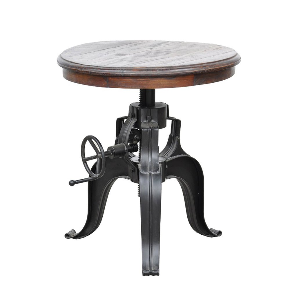 Nika Crank Table w/ Reclaimed Wood Top 30""