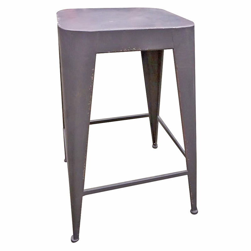 Distressed Matt Grey Metal Backless Bar Stool 25.5""