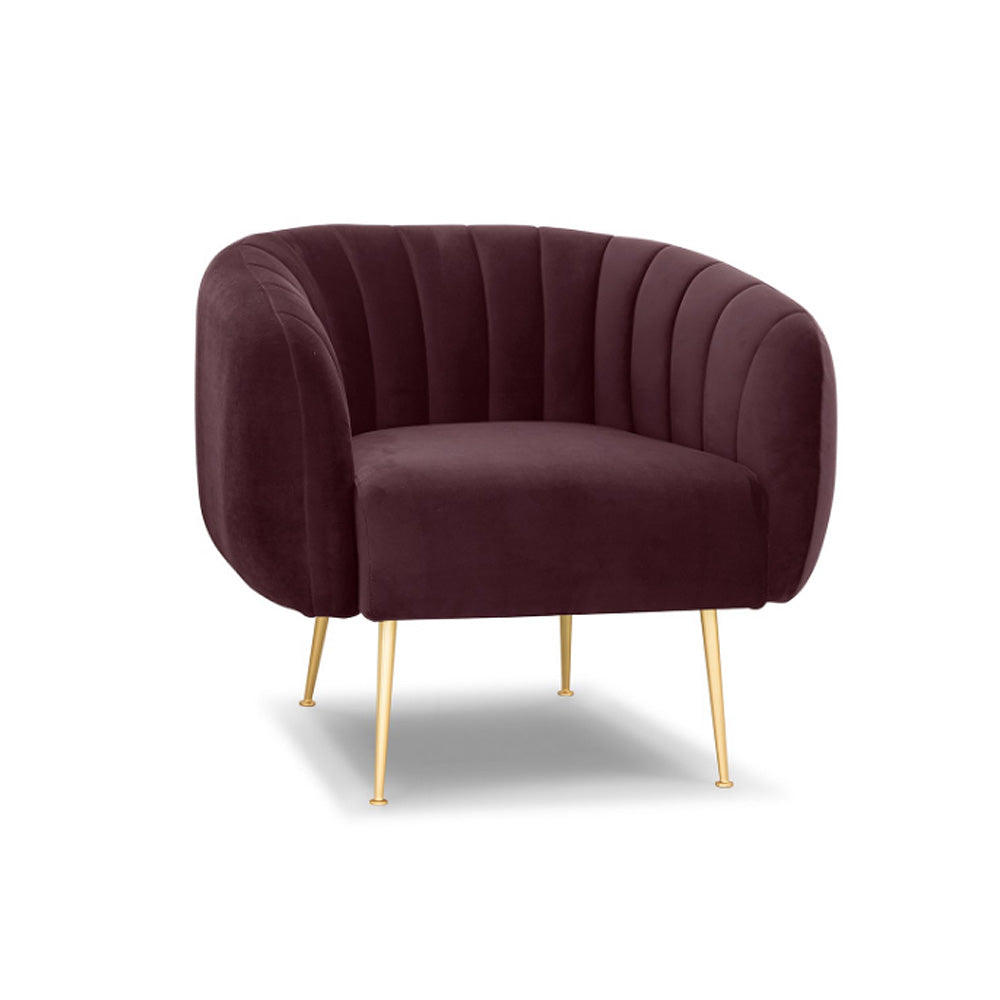 CHANNELED ACCENT CHAIR- PLUM P