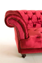 Load image into Gallery viewer, [ Chesterfield 3 Seater Red- Velvet Sofa & Velvet Ottoman Table] - CrosswillSofas