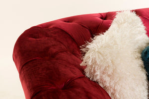 [ Chesterfield 3 Seater Red- Velvet Sofa & Velvet Ottoman Table] - CrosswillSofas