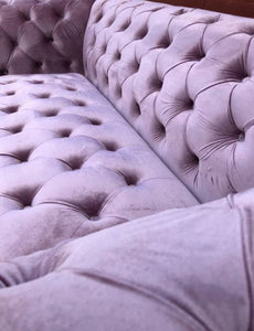 [ Chesterfield 3 Seater Lilac - Velvet Sofa & Velvet Ottoman Table] - CrosswillSofas
