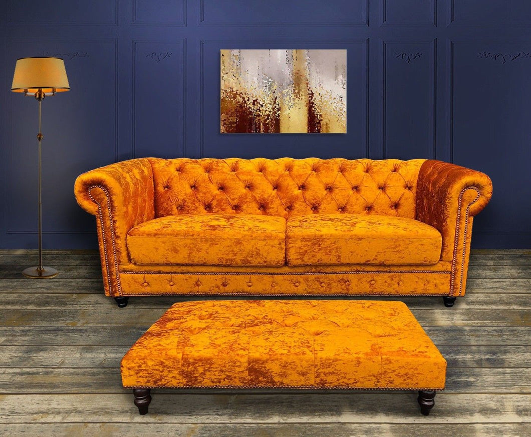 Mustard Chesterfield Velvet Sofa + Chesterfield Velvet Ottoman Table