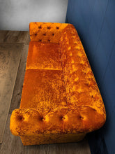 Load image into Gallery viewer, Mustard Chesterfield Velvet Sofa + Chesterfield Velvet Ottoman Table