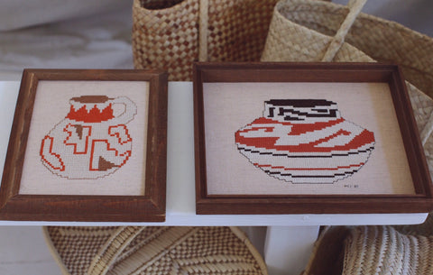 ~ vintage pottery needle point (set of two) ~