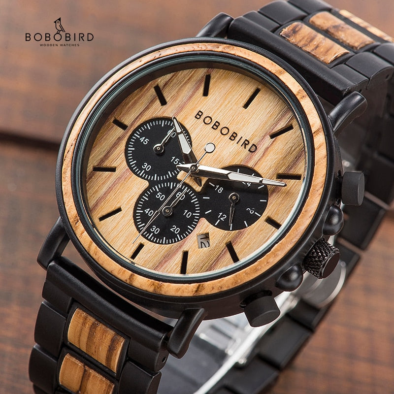 Stainless Wooden Chronograph