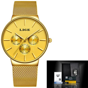 LIGE Ultra Waterproof Minimal Steel Wrist Watch