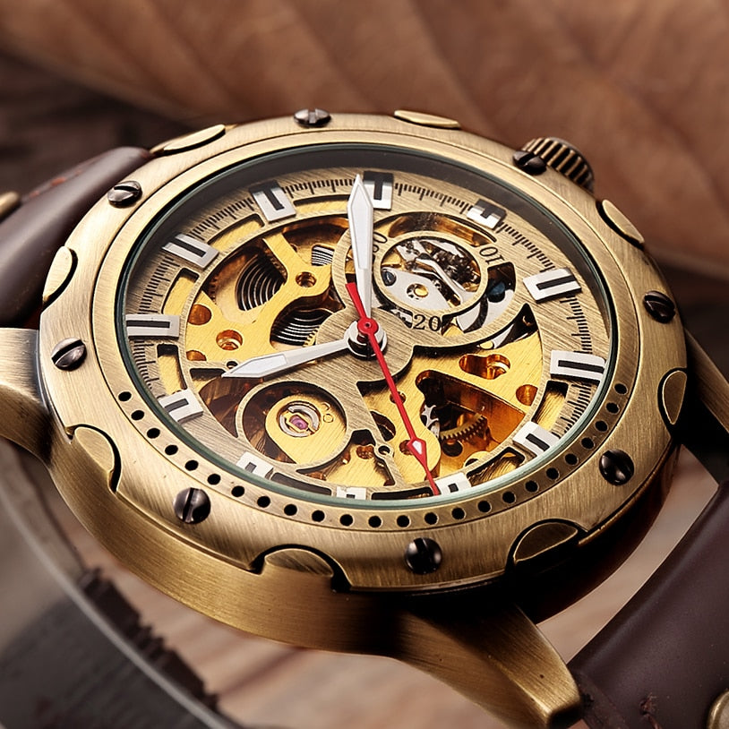 Bronze Skeleton Men Mechanical Sport Watch