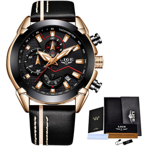 LIGE Leather Sport Chronograph