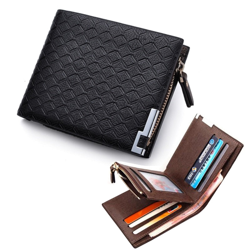 Leather Short Wallet with Coin Pocket and Zipper