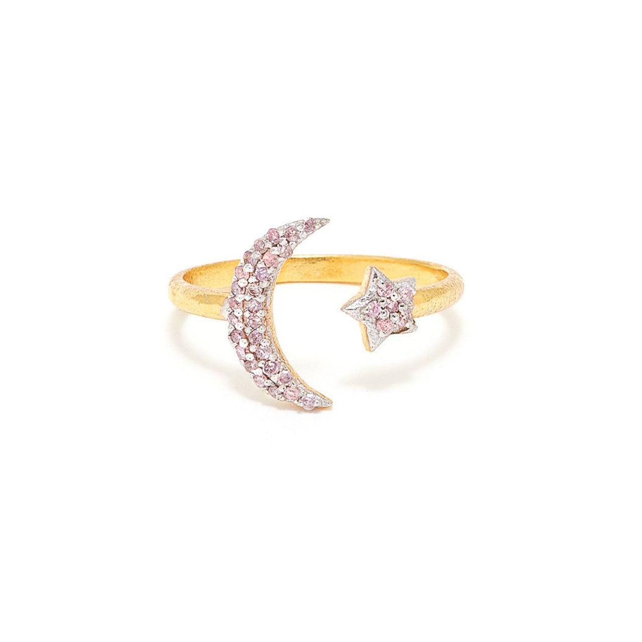 Pink Diamond Moon and Star Ring