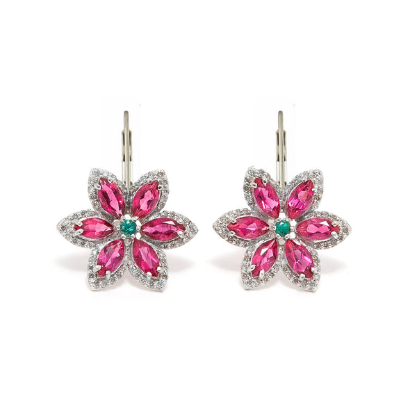 Tourmaline Emerald Star Earrings-Earrings-Jaipur Atelier