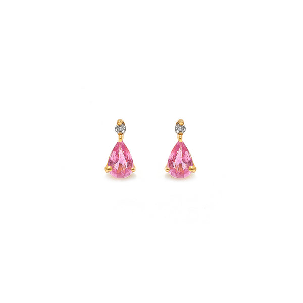 Pink Sapphire Diamond Earrings-Earrings-Jaipur Atelier