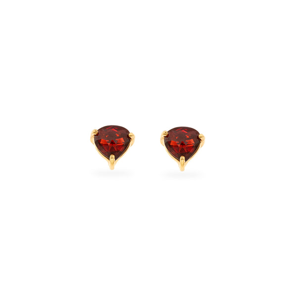 Garnet Heart Stud Earrings
