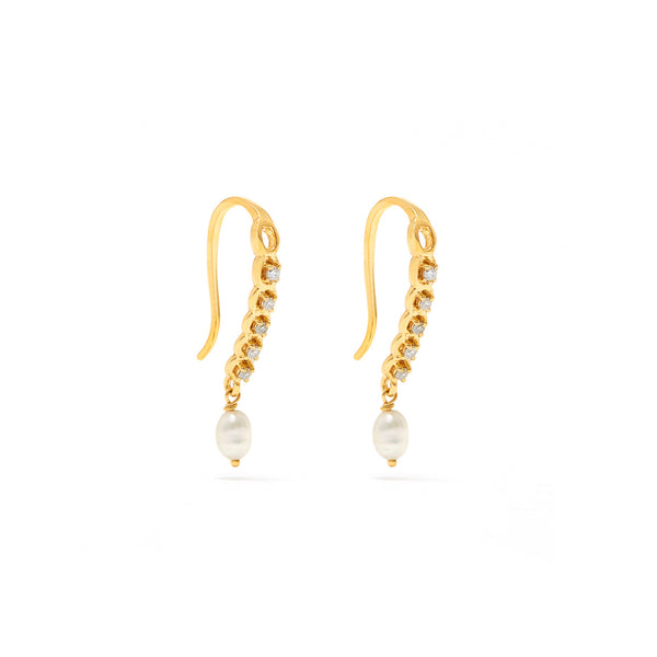 Laura White Diamond Pearl Earrings-Earrings-Jaipur Atelier