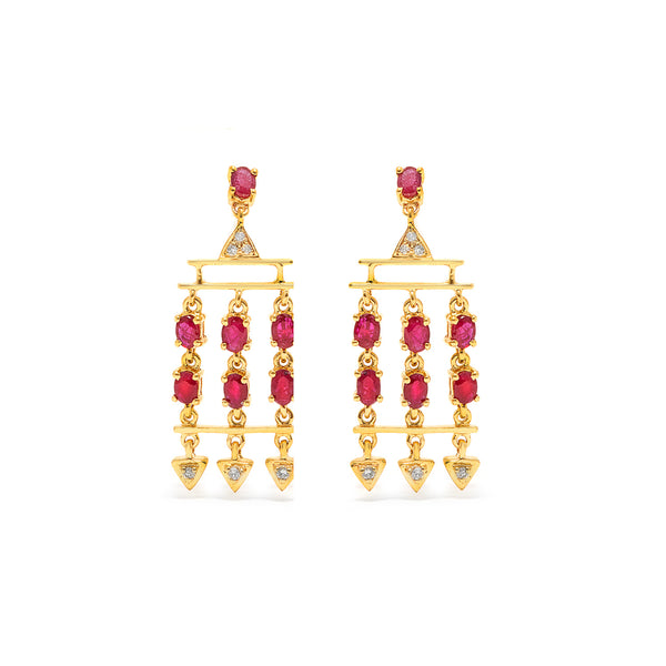 Ruby Diamond Chandelier Earrings-Earrings-Jaipur Atelier