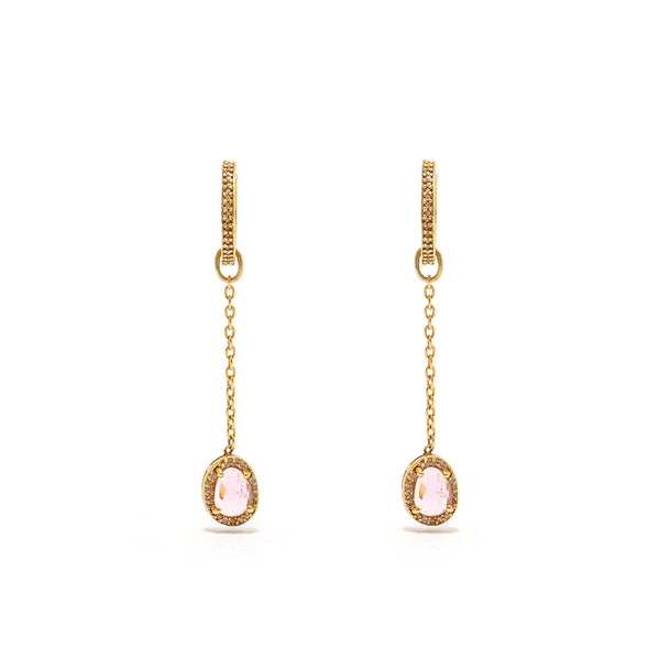 Pink Tourmaline Diamond T Drop Earrings-Earrings-Jaipur Atelier